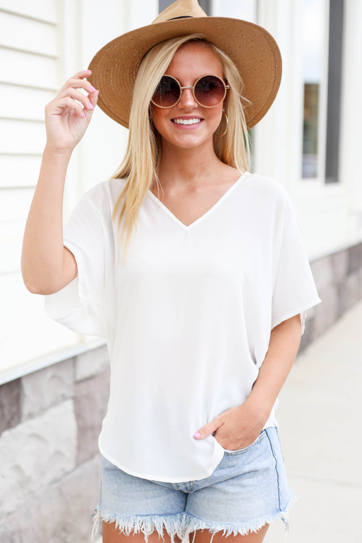 White - Oversized Chiffon Blouse