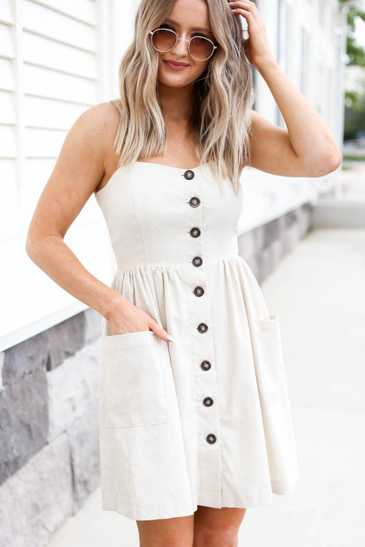 Natural - Button Front Mini Dress
