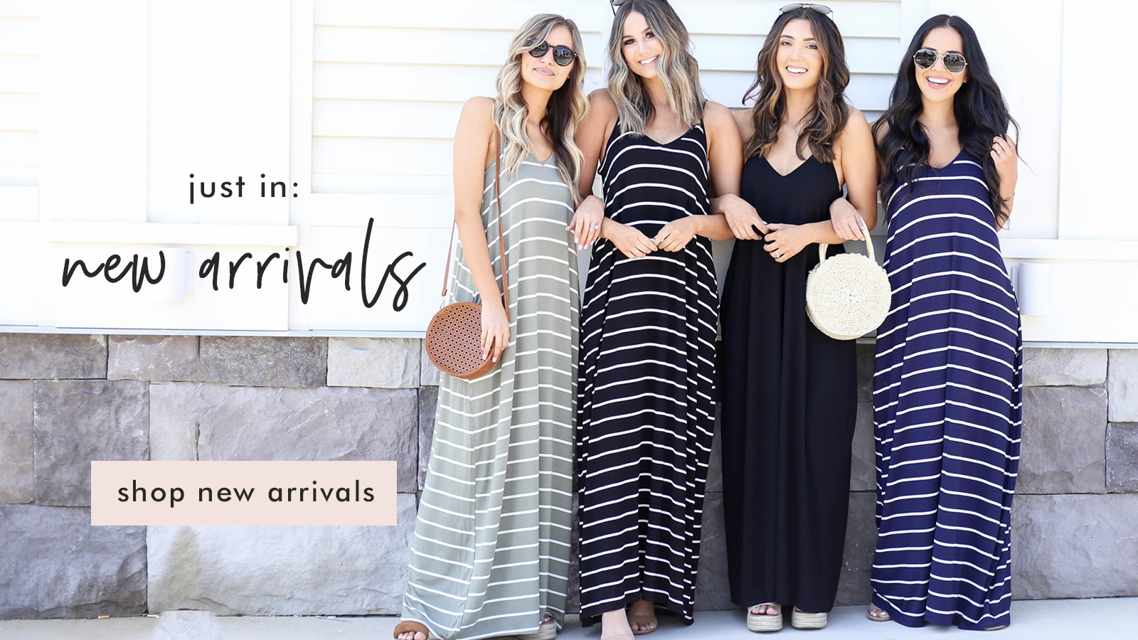 group of models wearing maxi dresses