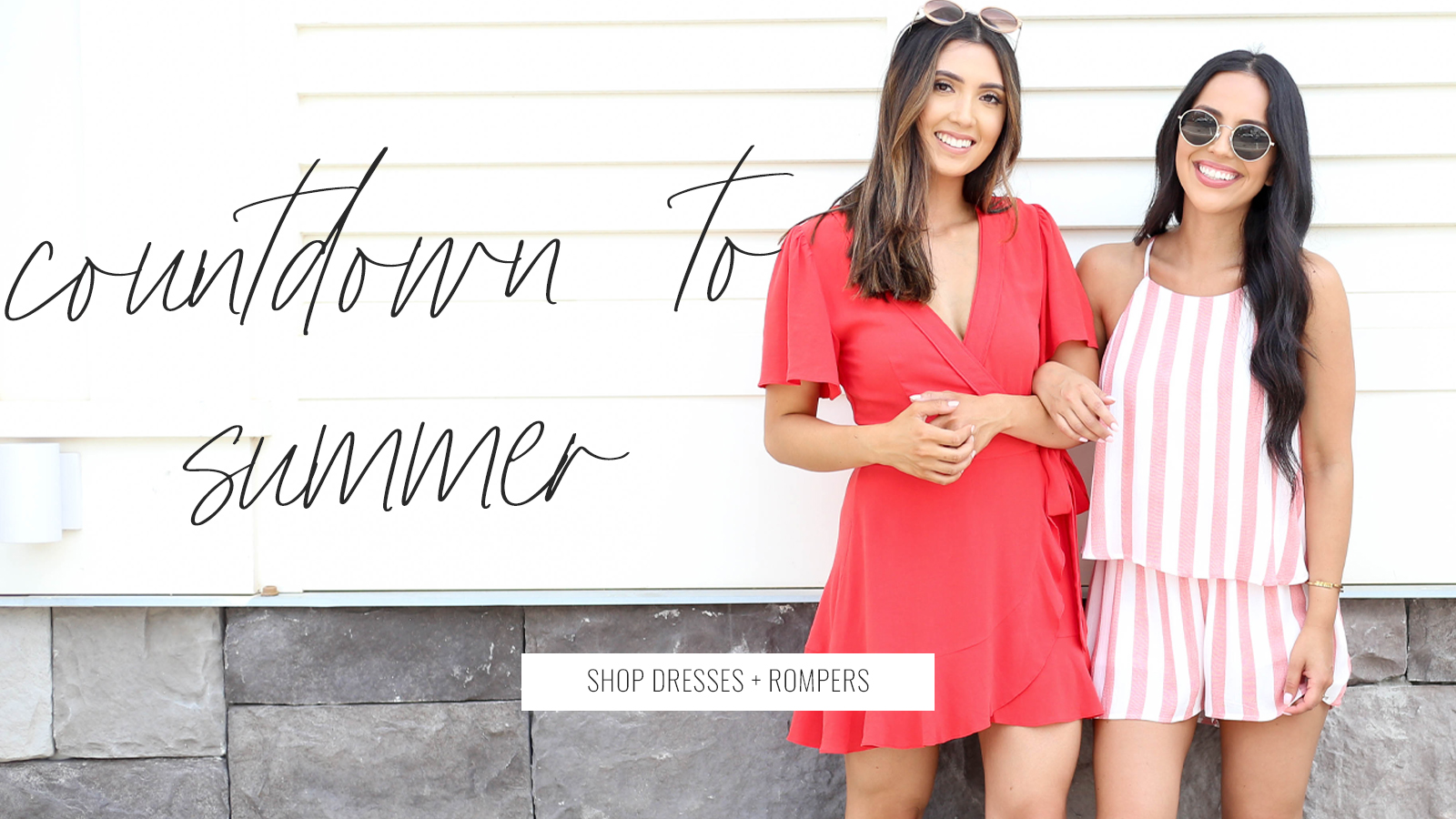 model one wearing a red mini dress and model two wearing a pink romper