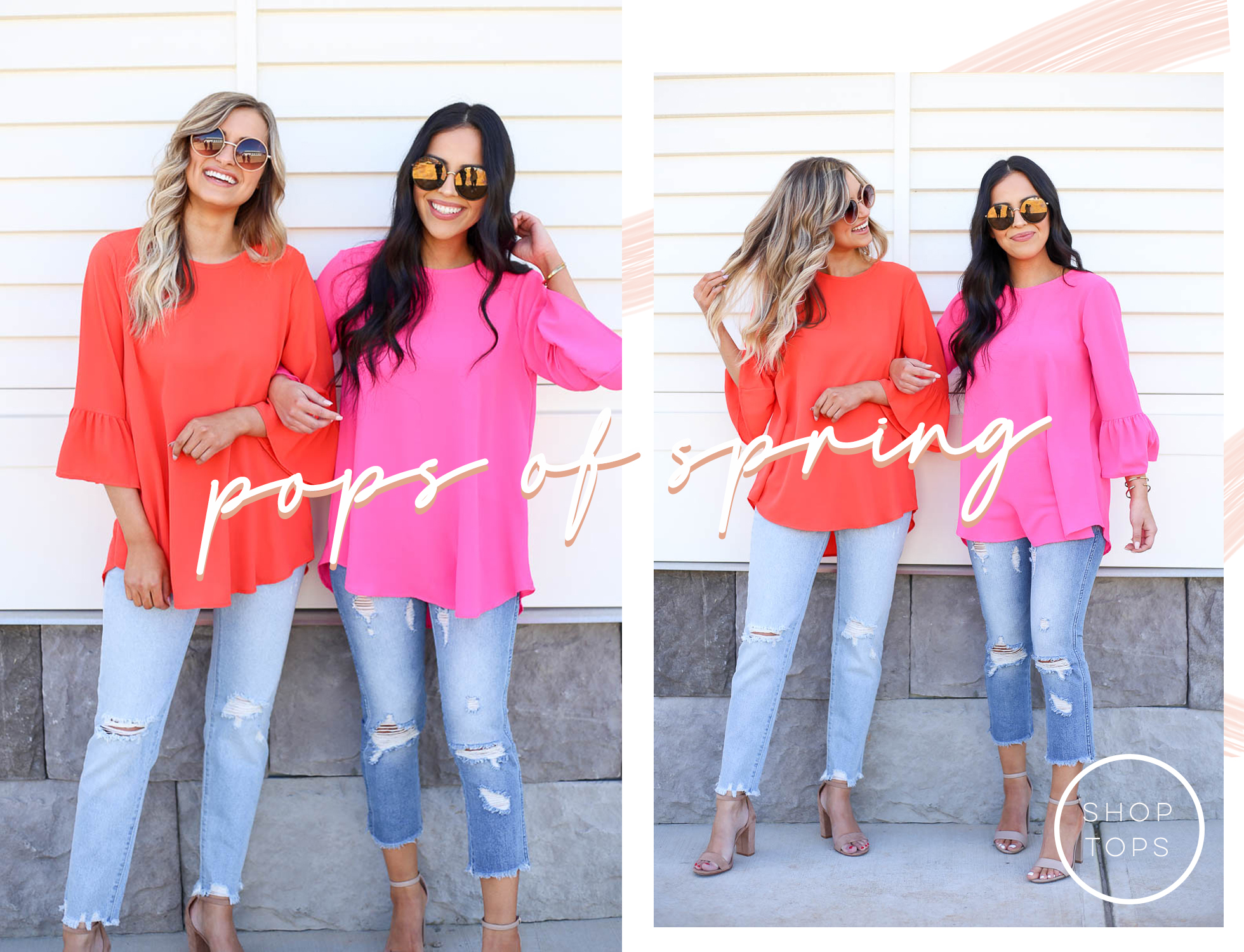 red and hot pink bell sleeve blouses