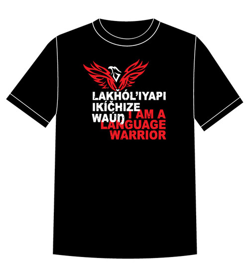 Lakȟól'iyapi Ikíčhize Waúŋ - I am a Lakota Language Warrior T-shirt Red