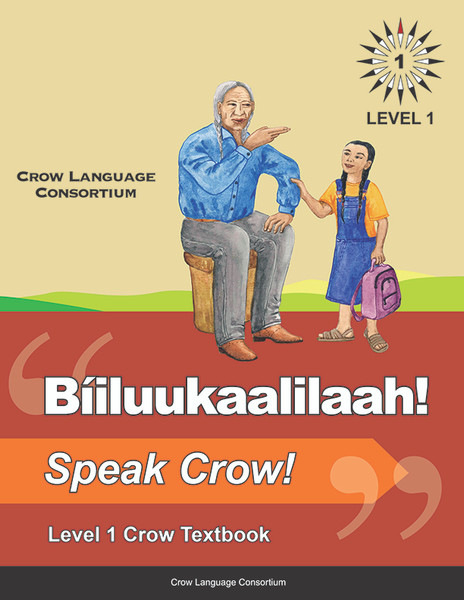 Biiluukaalilaah! - Speak Crow! is a Crow language textbook designed for elementary school use and self-study. Developed by leading Crow language authorities and linguists, the textbook is the first linguistically and pedagogically consistent textbook in Crow. It features: a detailed teacher's guide which incorporates all major vocabulary variants, numerous lesson activities and games, and contextualization of vocabulary though images and illustrations. 110 pgs