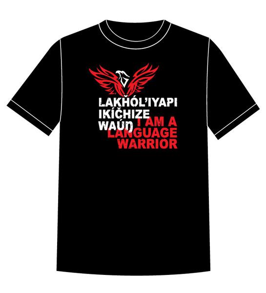 Lakȟól'iyapi Ikíčhize Waúŋ - I am a Lakota Language Warrior T-shirt Red