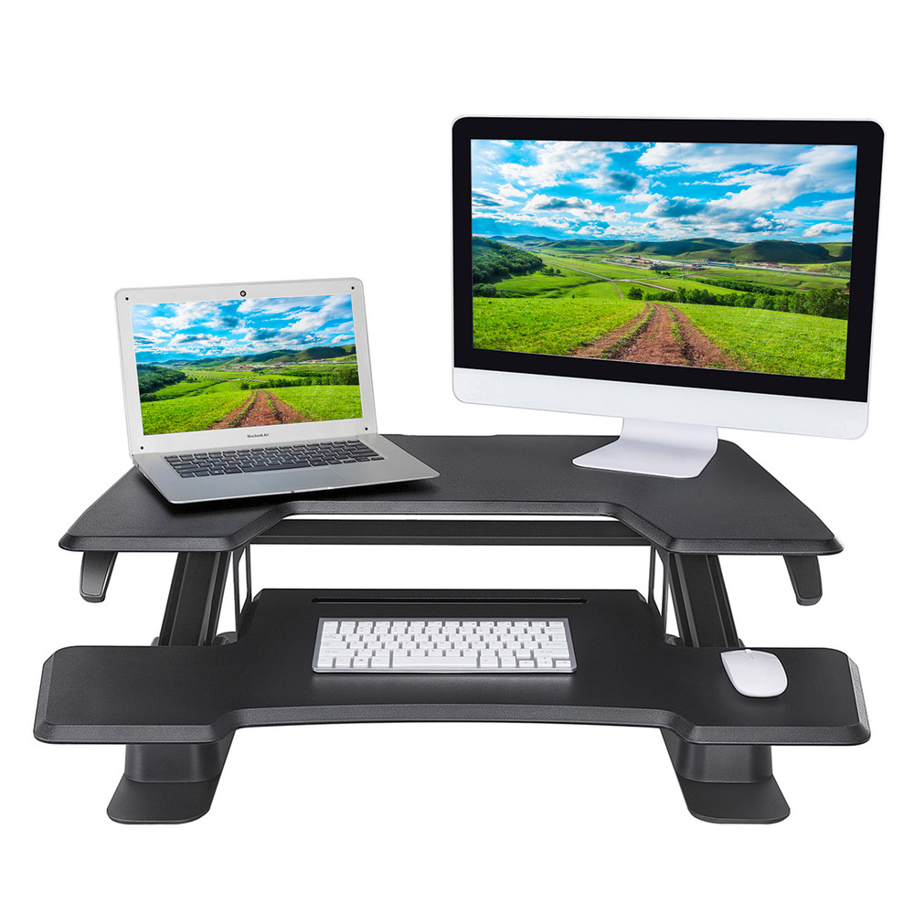 Eureka Ergonomic® Height Adjustable 36 Inch Stand Up Desk Converter, Black