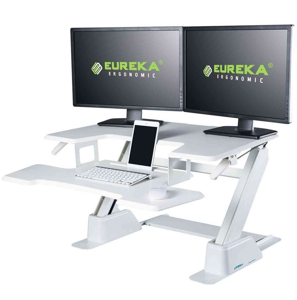 Stand Up Desk >> Eureka Ergonomic Height Adjustable 36 Inch Stand Up Desk Converter White