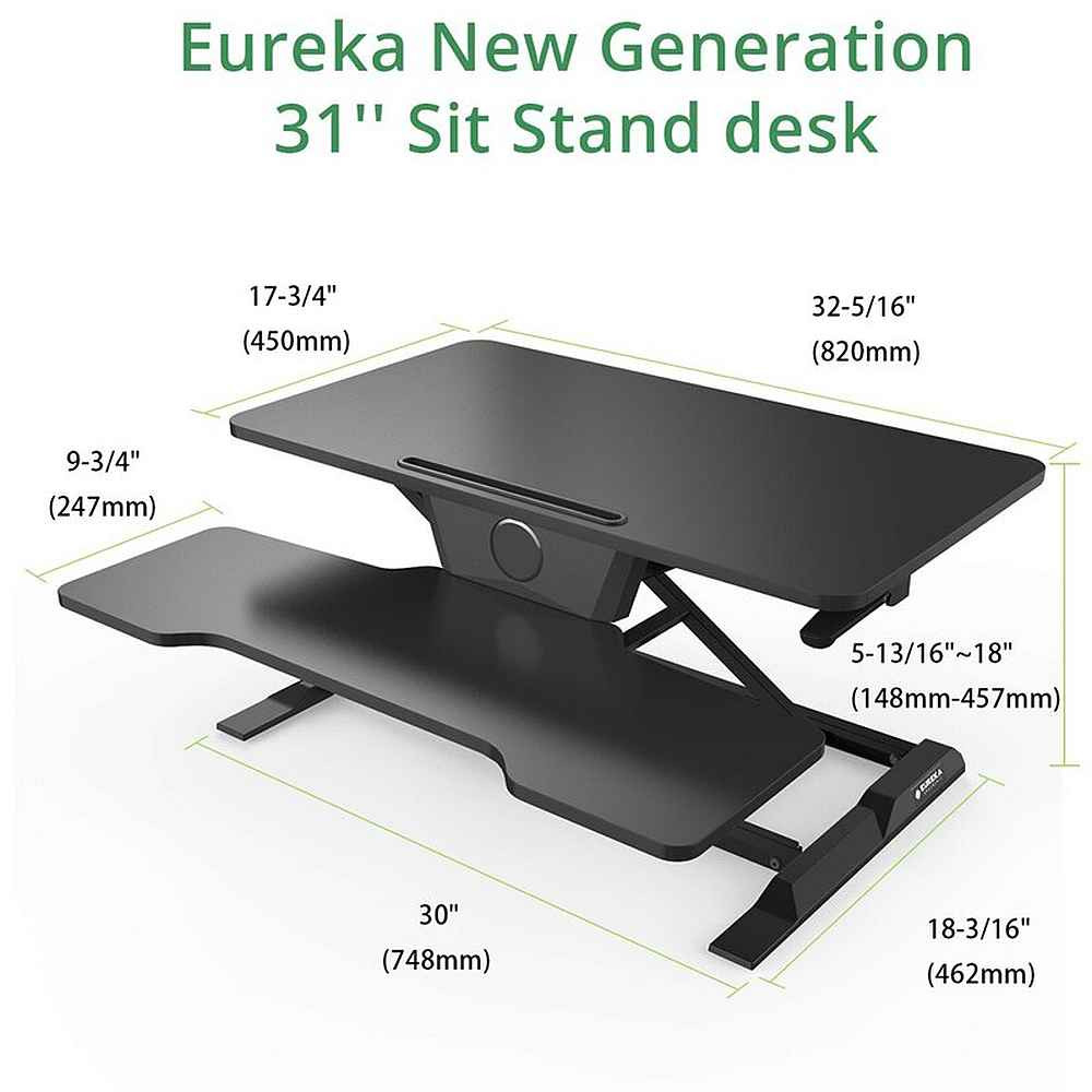Eureka Ergonomic® Height Adjustable 31 Inch Stand Up Desk Converter, Quick Sit to Stand Tabletop Monitor Riser With Keyboard Tray, Black - ERK-CCV-31B