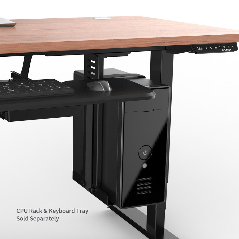 Optional CPU Hanging Rack - Eureka Ergonomic® Standing Desk E60 - Electric Height-Adjustable Desk - Wood/Black - 30 Day Risk Free Guarantee Plus FREE Shipping