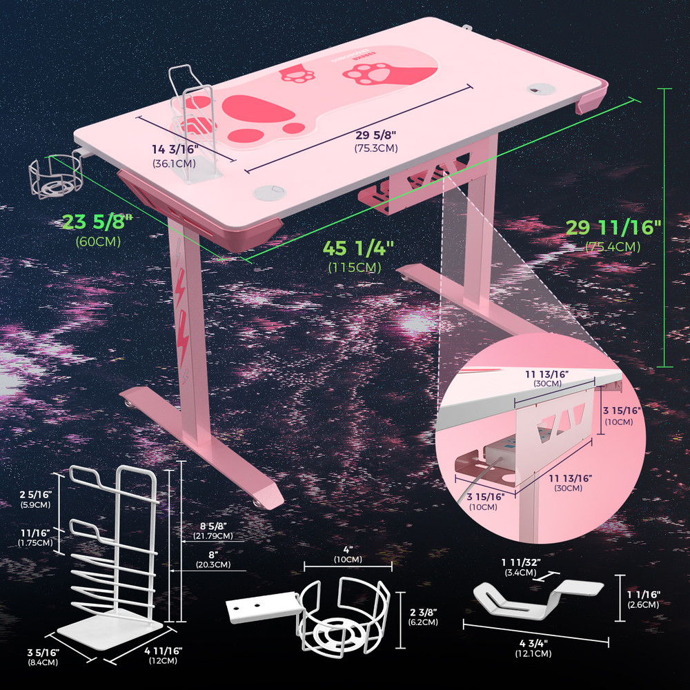 "Eureka Gaming® Venus I1S 45"" Pink Home Office Computer Desk, Lovely PC Table, with Free Mousepad, Headphone Hook, Cup Holder & Controller Rack (ERK-I44-PK)"