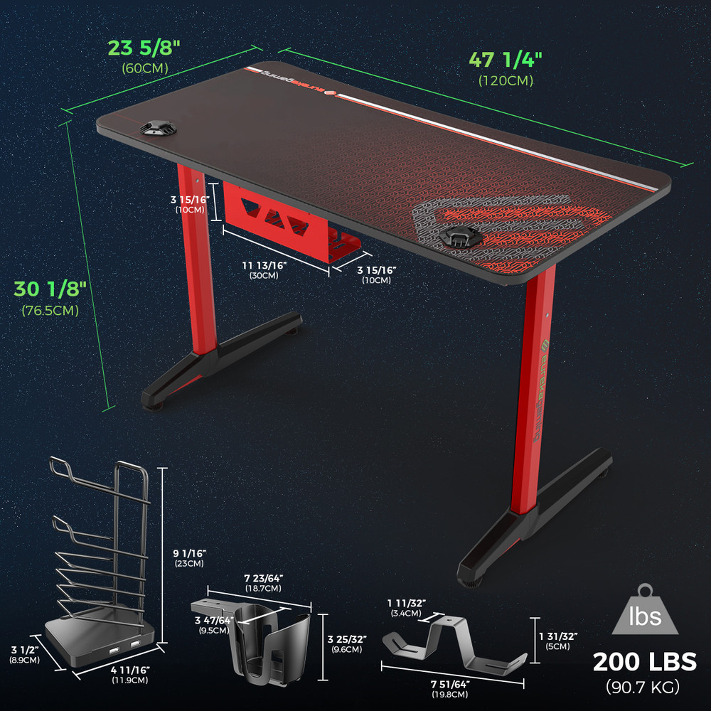 Eureka Gaming Captain Series GIP 47'' Home Office E-sports Computer Desk, Erognomic Design, Red (ERK-GIP-P47R)