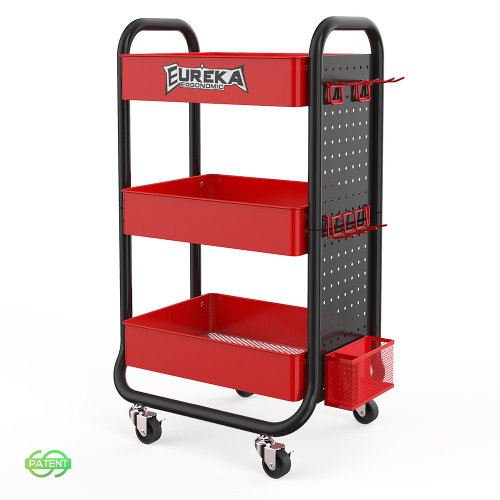 Eureka Gaming® 3 Tier Rolling Metal Shelving Utility Storage Rack with Wheels, Organizer Trolley, Black & Red (CP-JJ-CWC-0024)