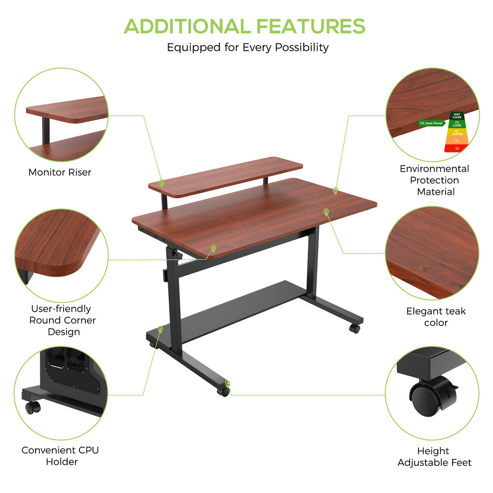 Eureka Ergonomic® 40'' Height Adjustable & Movable Home Office Desk, PC Computer Table, Teak (ERK-SW-41T)