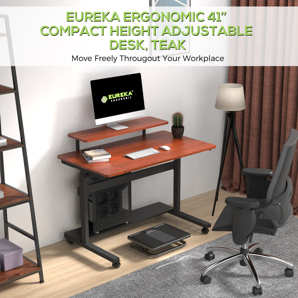 Eureka Ergonomic® 40'' Height Adjustable & Movable Home Office Desk, PC Computer Table, Teak