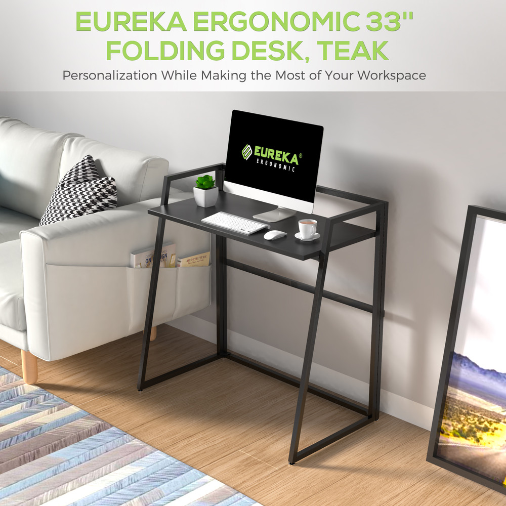 Eureka Ergonomic® 33'' Folding Computer Desk, Portable Writing & Study PC Table for Home Office, Fold Up Gaming Desk Wood Small Office Table for Teenagers' Working & Crafting, Black