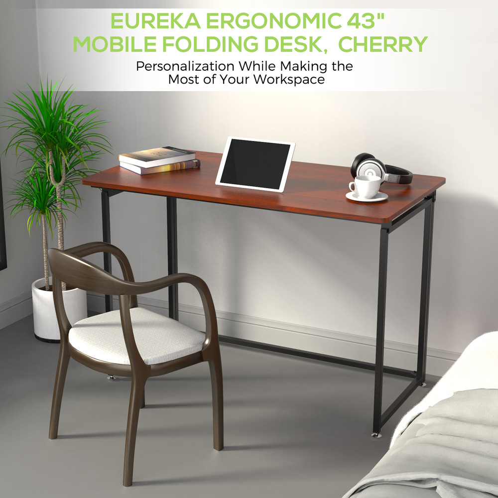 Eureka Ergonomic® 43'' Folding Computer Desk, Portable Study & Writing Desk for Home Office, Fold Up Gaming Desk, Wood Small Office Table for Teen Working & Crafting, Teak