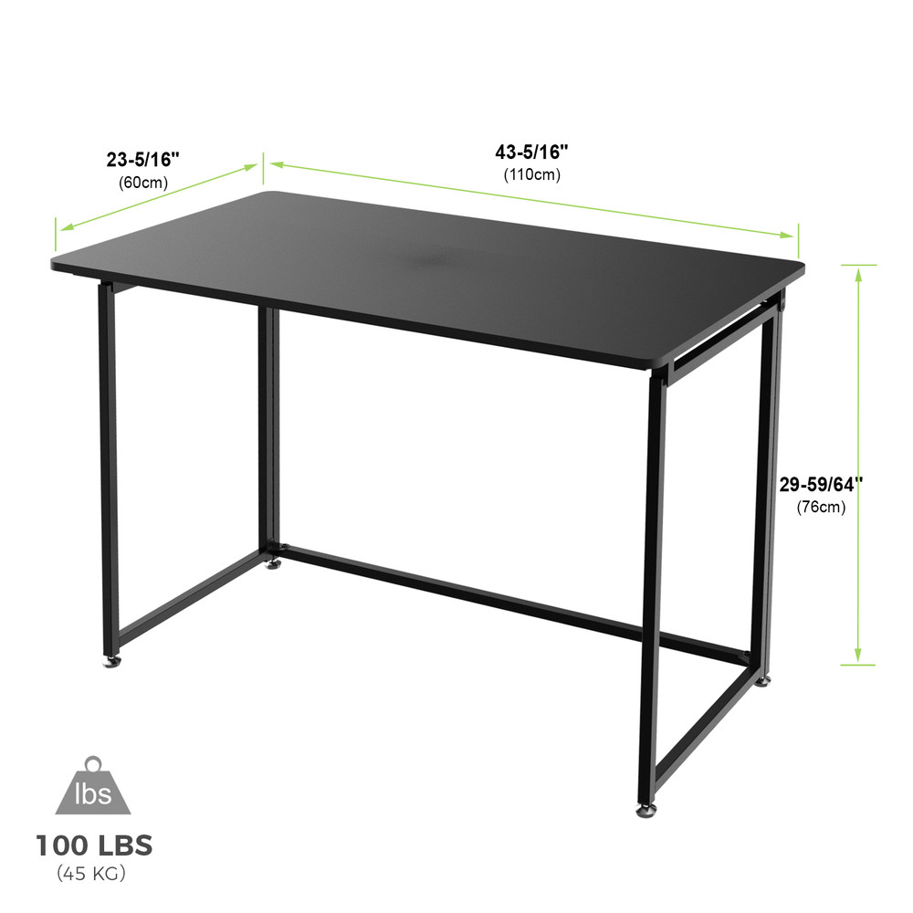 Eureka Ergonomic® 43'' Folding Computer Desk, Portable Study & Writing Desk for Home Office, Fold Up Gaming Desk, Wood Small Office Table for Teen Working & Crafting, Black (ERK-FT-43B)