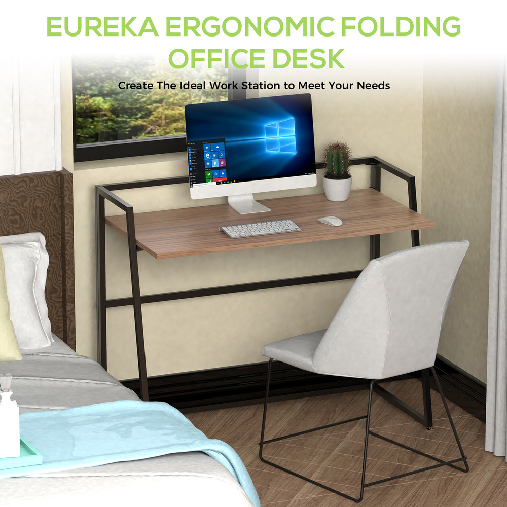 Eureka Ergonomic® 41'' Folding Computer Desk, Portable Writing & Study PC Table for Home Office, Fold Up Gaming Desk Wood Small Office Table for Teenagers' Working & Crafting, Cherry (ERK-FD-02C)