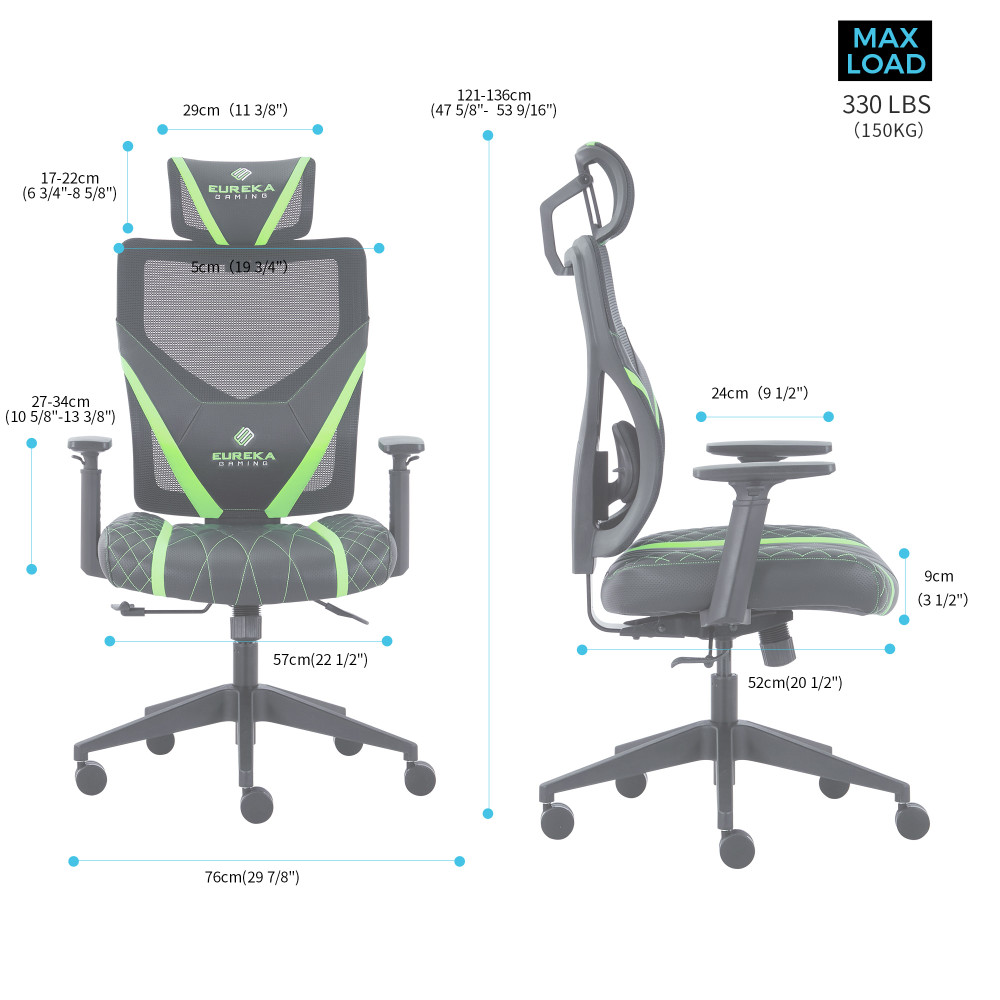 Eureka Ergonomic Home Office Gaming Computer Swivel Chair with Headrest and Lumbar Support, Adjustable Mesh Back & Height, Exclusive Ergonomic Video Game Chair, Black&Green