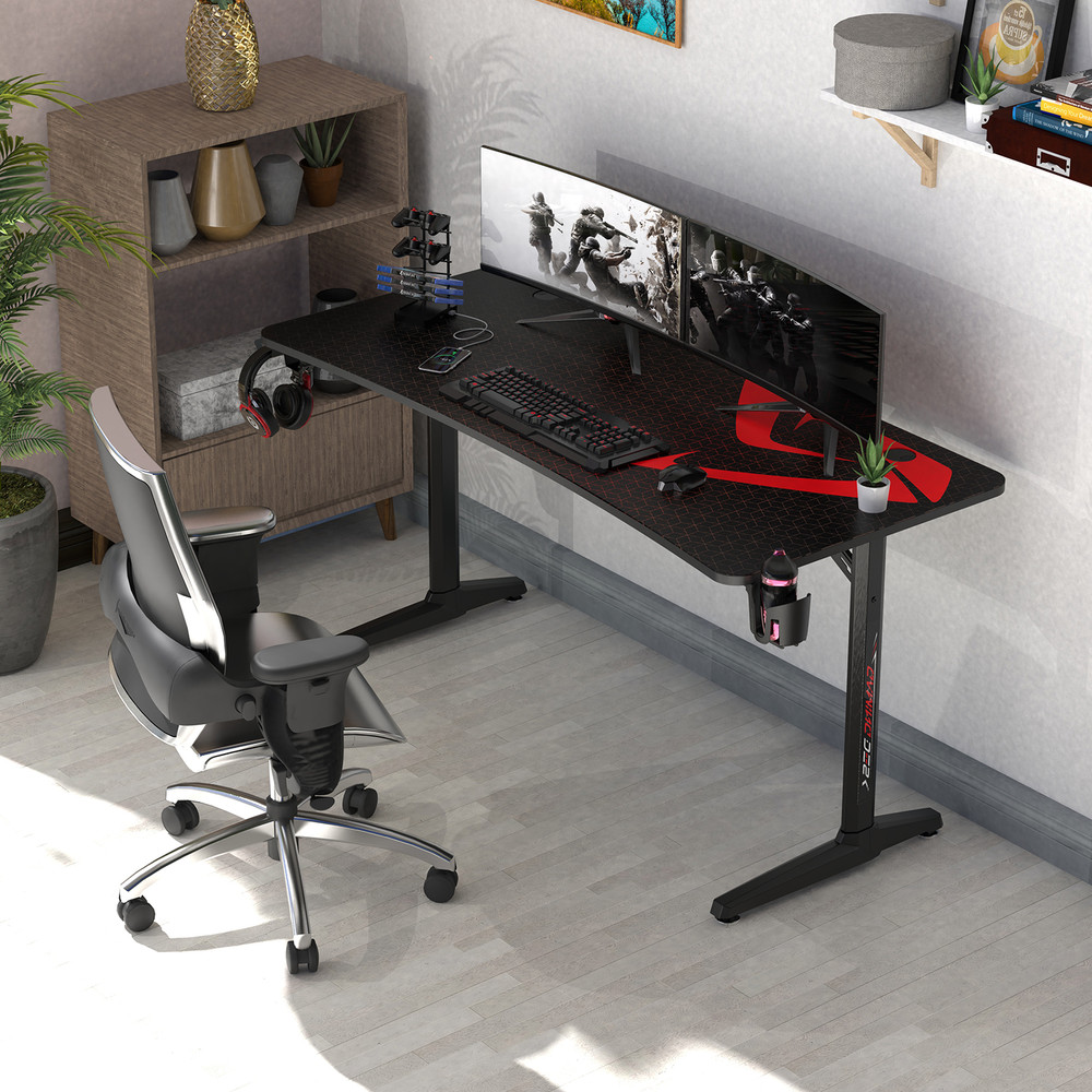 """Eureka Ergonomic® Gaming Computer Desk 60"""" Home Office Computer Desk, I-Shaped Structure with New Polygon Legs Design, with Free Mouse Pad Controller Stand Cup Holder & Headphone Hook, Black, ZX"""