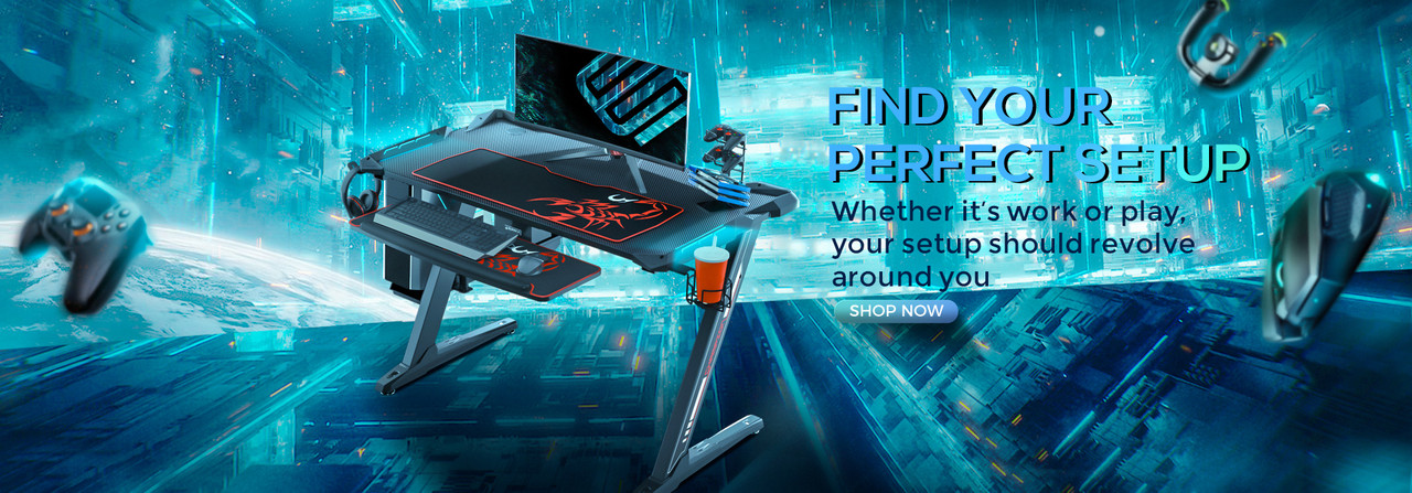Find Your Perfect Setup - Z1-S Gaming Desk with Cup Holder, Headphone Hook, Controller Stand, and Keyboard Tray