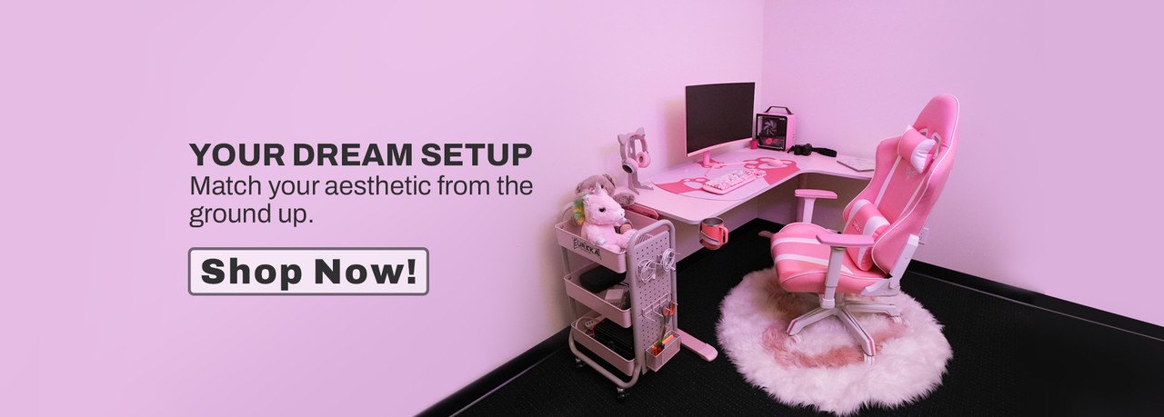 Your Dream Setup - Match your aesthetic from the ground up.   L60R-PK Pink L-shape Gaming Desk