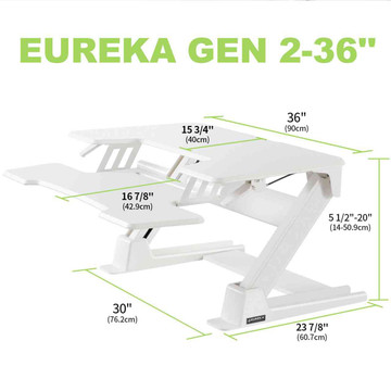 Eureka Ergonomic® Height Adjustable Standing Desk Converter - 36 Inch, White - ERK-CV-PRO36W
