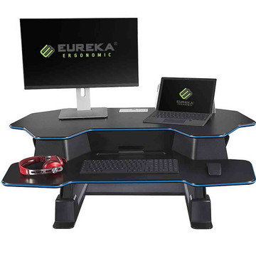 Eureka Ergonomic® Height Adjustable 46 Inch Sit to Stand Desk Converter & Riser, Black - ERK-CV-46B