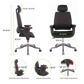 Eureka Ergonomic® High-Back Executive Swivel Office Computer Desk Chair with Armrest - Black - ERK-SC-002
