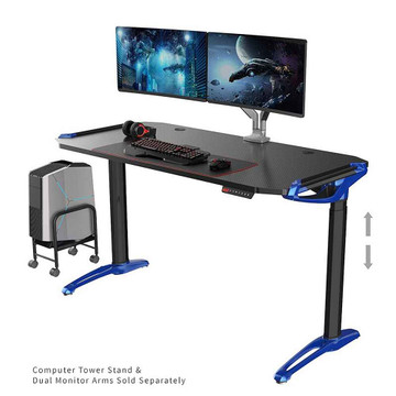 Eureka E1 Racer Gaming Desk - Electric Blue - PC Gaming Desk - ERK-EDK-GDBL