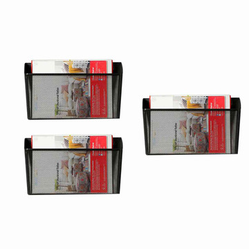 Eureka Ergonomic® Hanging File Holder Organizer, Metal Wall Mount Magazine Rack, Black, 3-Pack - ERK-AM-023