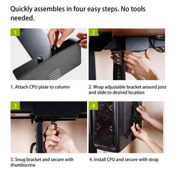 Eureka Ergonomic® Height Adjustable Heavy Duty Under Desk CPU Holder/Mount - Black - ERK-CH-B