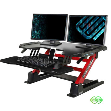 "Gaming Sit-Stand Desk 36"", for PC Gamers, LED Lights, Black & Red"