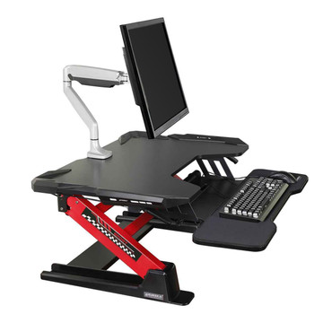 """Gaming Sit-Stand Desk 36"""", for PC Gamers, LED Lights, Black & Red"""