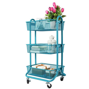 Eureka Ergonomic® 3 Tier Rolling Mesh Shelving Utility Storage Cart with Wheels, Organizer Trolley, Black - ERK-AM-033-BL