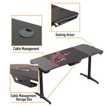 Eureka Ergonomic® I60 Computer Gaming Desk 60 Inch I-Shaped PC Computer Gaming Desks Carbon Fiber Texture Surface PC Gamer Desk with Free Mouse Pad for Gift for Boyfriend Son Game Lover Gift