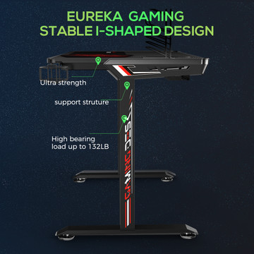 Eureka Ergonomic I1-S 43.3 Inch T-Shaped Home Office PC Gaming Computer Desk with Free Headset Hook, Cup Holder & Controller Rack, Writing Study Tables Popular Gift for Girlfriend, Black