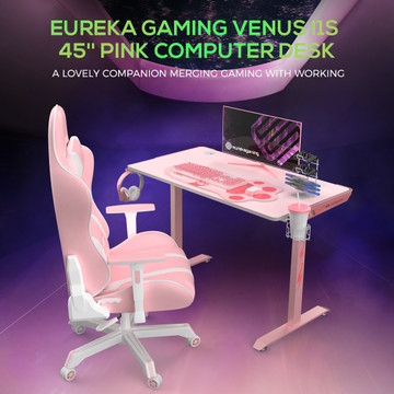 """Eureka Gaming® Venus I1S 45"""" Pink Home Office Computer Desk, Lovely PC Table, with Free Mousepad, Headphone Hook, Cup Holder & Controller Rack (ERK-I44-PK)"""