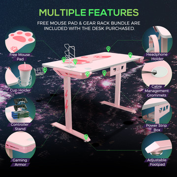 Eureka Ergonomic® I1-S 43.3 Inch T-Shaped Small Home Office PC Gaming Computer Desk, Writing Study Tables Popular Gift for Girlfriend Female E-Sports Lover, Pink