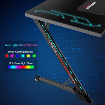 Eureka Ergonomic® PG1 Gaming Desk With RGB Lights - Glass Desktop (ERK-Z1S-PG1)