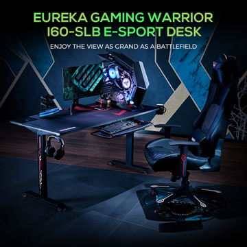 Eureka Ergonomic® Gaming Desk 2 People 60 Inch Large Computer Desk Gaming T-Shaped Home Office PC Laptop Writing Table with Full-Covered Mouse Pad Popular Gift for E-Sports Lover Black