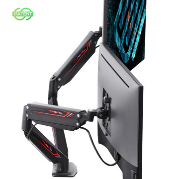 Eureka Gaming® Dual Monitor Stand, Height Adjustable Full Motion (360) Arm Mount, Gaming Design (ERK-MA-D04B)