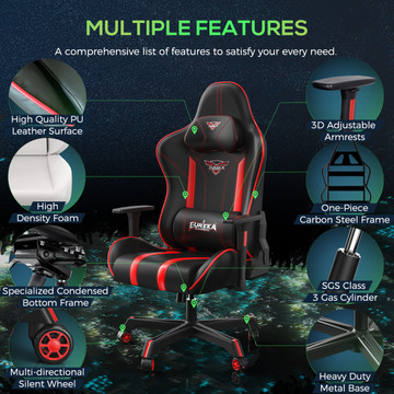 Eureka Gaming Colonel Series GC04 E-sport Chair - Ergonomic Design with Rocking Function (ERK-ZY-GC04-PURD)