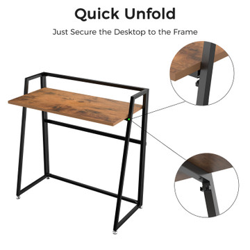 Eureka Ergonomic® 33'' Folding Computer Desk, Portable Writing & Study PC Table for Home Office, Fold Up Gaming Desk Wood Small Office Table for Teenagers' Working & Crafting, Vintage Brown (ERK-FD-03VP)