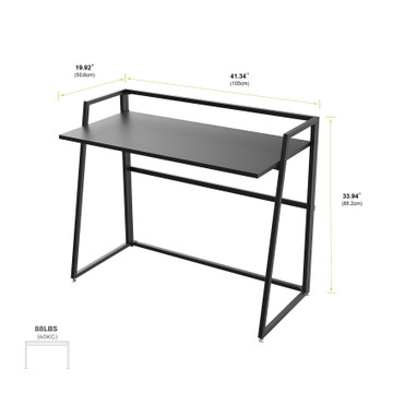 Eureka Ergonomic® 41'' Folding Computer Desk, Portable Writing & Study PC Table for Home Office, Fold Up Gaming Desk Wood Small Office Table for Teenagers' Working & Crafting, Black (ERK-FD-02B)