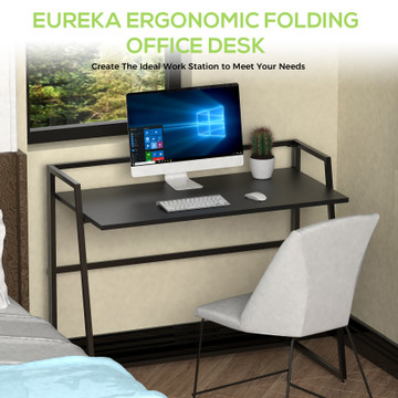 Eureka Ergonomic® 41'' Folding Computer Desk, Portable Writing & Study PC Table for Home Office, Fold Up Gaming Desk Wood Small Office Table for Teenagers' Working & Crafting, Black