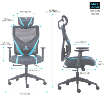 Eureka Ergonomic Home Office Gaming Computer Swivel Chair with Headrest and Lumbar Support, Adjustable Mesh Back & Height, Exclusive Ergonomic Video Game Chair, Black&Blue