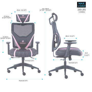 Eureka Ergonomic Home Office Gaming Computer Swivel Chair with Headrest and Lumbar Support, Adjustable Mesh Back & Height, Exclusive Ergonomic Video Game Chair, Black&Pink