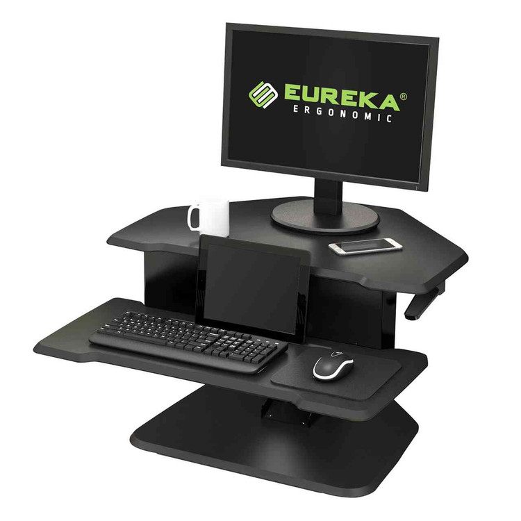 Eureka Ergonomic® Height Adjustable Corner Sit Stand Desk with Keyboard Tray, 28 Inch - Black - ERK-DCC-28B