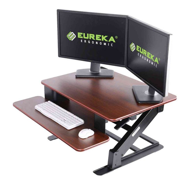 Eureka Ergonomic® Height Adjustable Standing Desk Converter, 32 Inch - Cherry - ERK-CV-32C