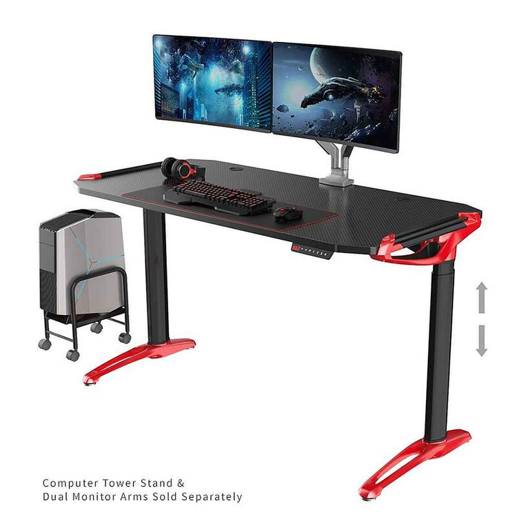 Eureka E1 Racer Gaming Desk - Viper Red - PC Gaming Desk -ERK-EDK-GDR